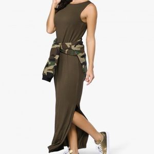 Olive Green Maxi Dress with Slit